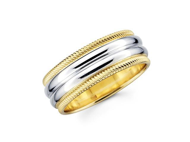 Solid 14k Yellow and White Two 2 Tone Gold Mens Milgrain High Polish Wedding Ring Band 8MM Size 10.5