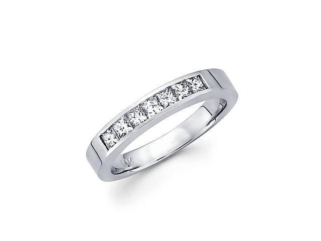 14k White Gold Princess Cut Channel Set Diamond Wedding Ring Band 2/3 Ct (G-H Color, SI1 Clarity)