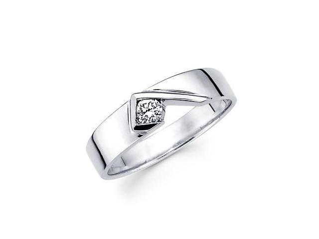 14k White Gold Mens Solitaire Diamond Ring Band .22ct (G-H Color, SI2 Clarity)