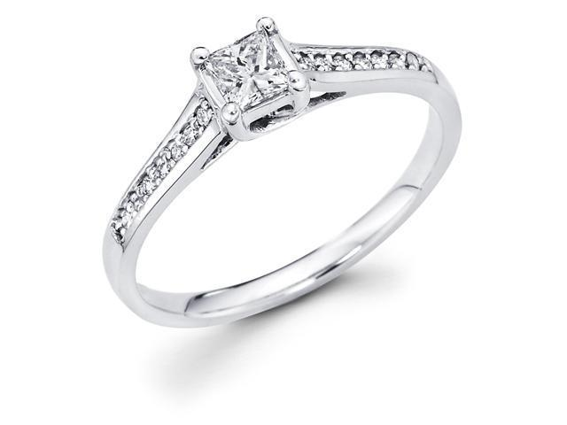 14k White Gold Princess Cut Diamond Engagement Ring w/ Round Micro Pave Diamond Side Stones (1/3 cttw, 1/4 ct Center, G-H Color, SI1 Clarity)