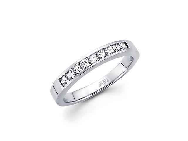 14k White Gold Princess Cut Channel Set Diamond Wedding Ring Band .38 Ct (G-H Color, SI1 Clarity)