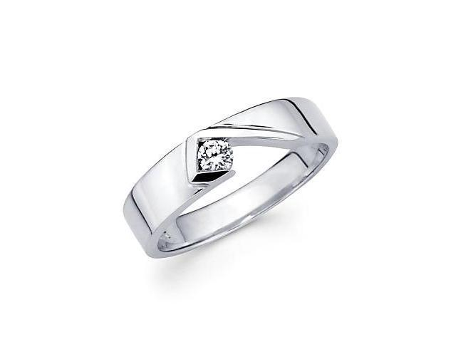New 14k White Gold Womens Ladies Solitaire Diamond Ring Band .12 ct (G-H Color, SI2 Clarity)