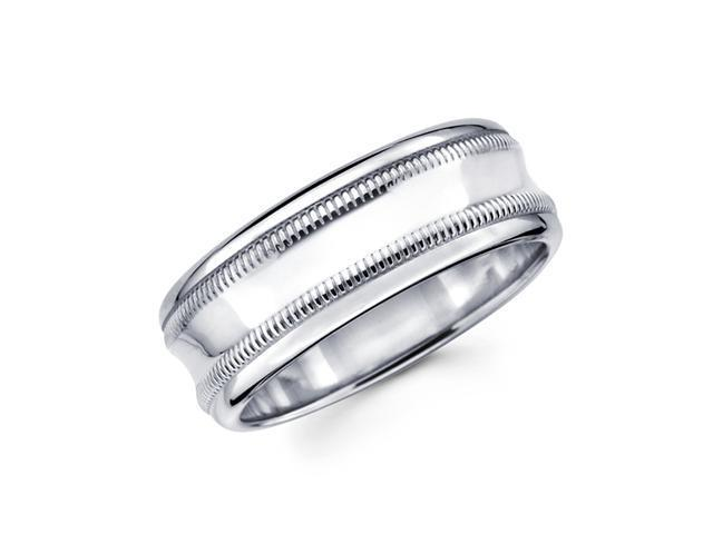 Solid 14k White Gold Mens Milgrain High Polish Wedding Ring Band 8MM Size 9