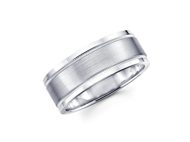 Solid 14k White Gold Mens High Polish Milgrain Satin Wedding Ring Band 8MM Size 10