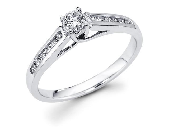 14k White Gold Solitaire Round Diamond Engagement Ring w/ Channel Set Diamond Side Stones (1/3 cttw, 1/5 ct Center, G-H Color, SI1 Clarity)