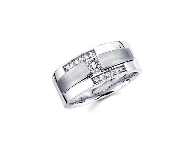 New 14k White Gold Mens Diamond Solitaire Wedding Ring Band .37ct (G-H Color, SI2 Clarity)