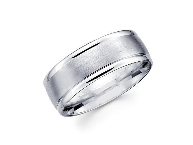 Solid 14k White Gold Mens Satin High Polish Wedding Ring Band 8MM Size 10.5