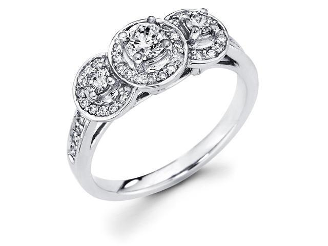 14k White Gold Three 3 Stone Cirque Halo Round Diamond Engagement Anniversary Ring (2/3 cttw, 1/4 ct Center, G-H Color, SI1 Clarity)
