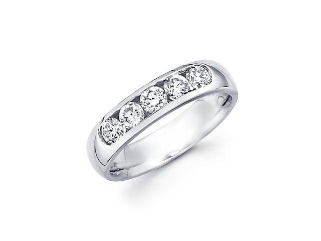 14k White Gold Channel Set 5 Round Diamond Womens Wedding Ring .71ct (G-H Color, SI2 Clarity)