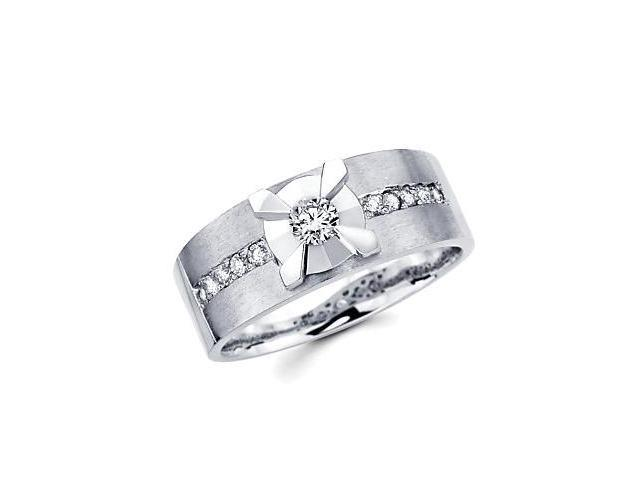 New 14k White Gold Mens Diamond Solitaire Wedding Ring Band .44ct (G-H Color, SI2 Clarity)