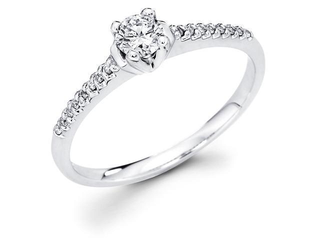 14k White Gold Solitaire Round Diamond Engagement Ring w/ Micro Pave Set Diamond Side Stones (1/3 cttw, 1/4 ct Center, G-H Color, SI1 Clarity)