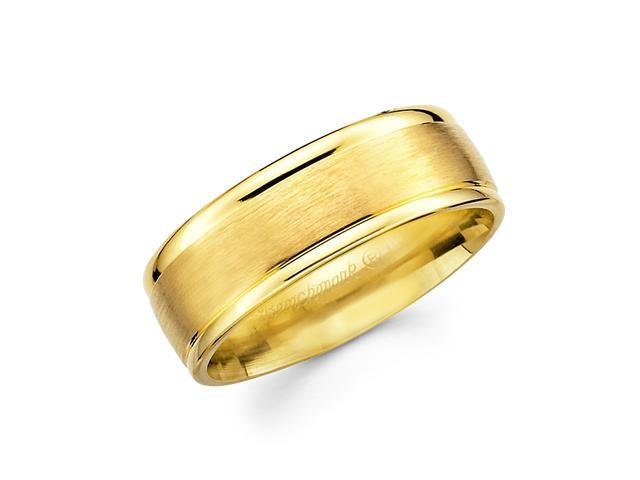 Solid 14k Yellow Gold Mens Satin High Polish Wedding Ring Band 8MM Size 10.5