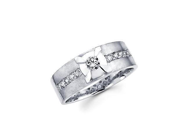 14k White Gold Womens Ladies Diamond Solitaire Wedding Ring Band .39 ct (G-H Color, SI2 Clarity)
