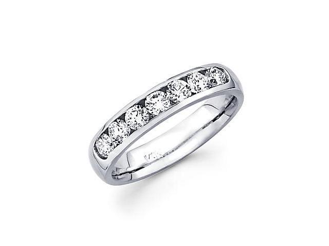 14k White Gold Channel Set 7 Round Diamond Womens Wedding Ring .72ct (G-H Color, SI2 Clarity)