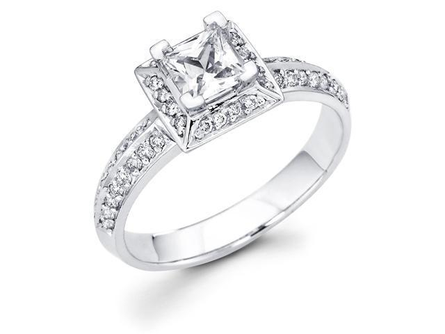 14k White Gold Princess Cut Diamond Engagement Ring w/ Round Channel Set Diamond Side Stones (2/3 cttw, 2/5 ct Center, G-H Color, SI1 Clarity)