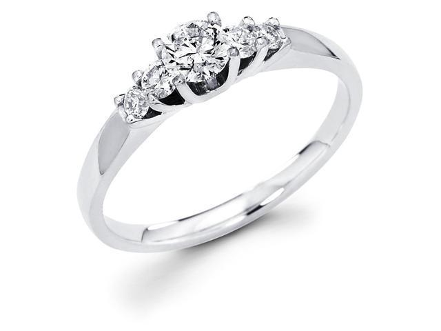 14k White Gold 5 Five Stone Round Diamond Engagement Anniversary Ring Band (1/4 cttw, 1/8 ct Center, G-H Color, SI1 Clarity)