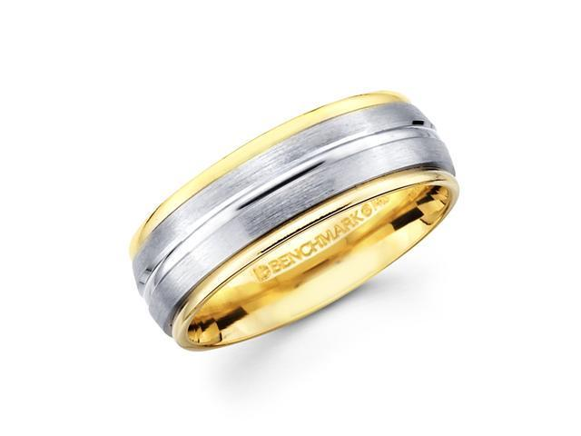 Solid 14k Yellow and White Two 2 Tone Gold Mens Satin High Polish Wedding Ring Band 8MM Size 10