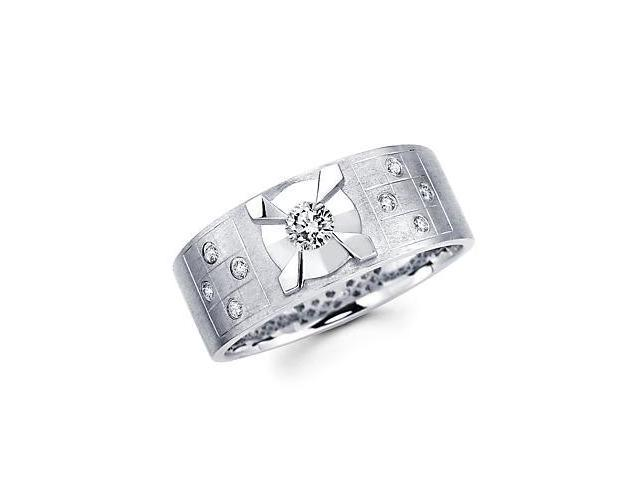 New 14k White Gold Mens Diamond Solitaire Wedding Ring Band .33ct (G-H Color, SI2 Clarity)