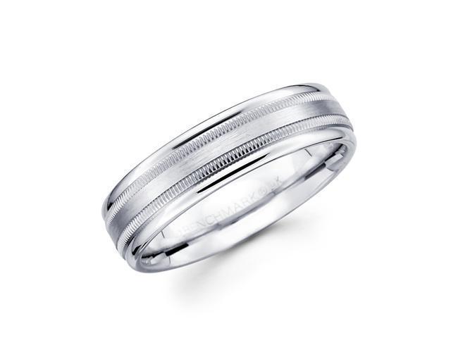 Solid 14k White Gold Ladies Mens Satin Milgrain High Polish Wedding Ring Band 6MM Size 5.5