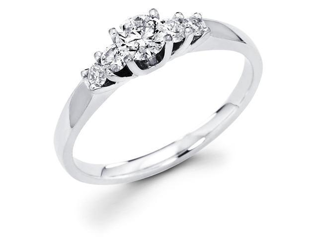 14k White Gold 5 Five Stone Round Diamond Engagement Anniversary Ring Band (1/2 cttw, 1/3 ct Center, G-H Color, SI1 Clarity)