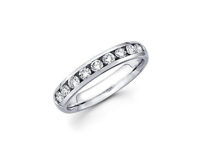 14k White Gold Channel Set 9 Round Diamond Womens Wedding Ring Band 1/2ct (G-H Color, SI2 Clarity)