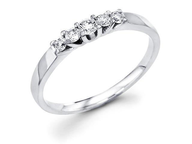 14k White Gold 5 Five Stone Round Diamond Wedding Anniversary 2mm Ring Band (1/5 cttw, G-H Color, SI1 Clarity)