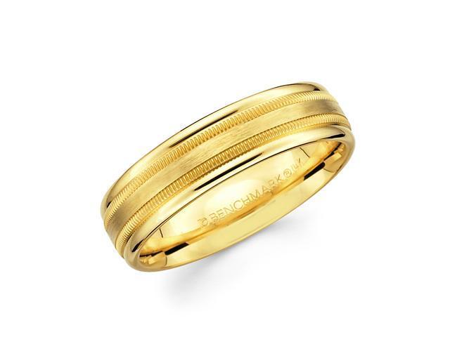 Solid 14k Yellow Gold Ladies Mens Satin Milgrain High Polish Wedding Ring Band 6MM Size 7.5
