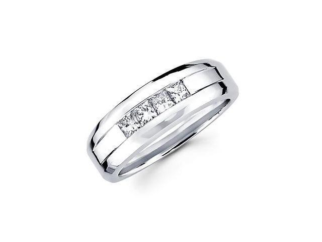 14k White Gold Mens Channel Set Princess Diamond Wedding Ring Band .62ct (G-H Color, SI1 Clarity)