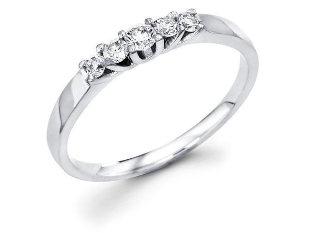 14k White Gold 5 Five Stone Round Diamond Wedding Anniversary Ring Band (1/4 cttw, G-H Color, SI1 Clarity)