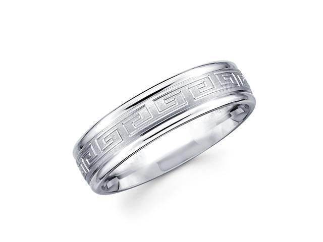 Solid 14k White Gold Ladies Mens Greek Design Wedding Ring Band 6MM Size 5.5