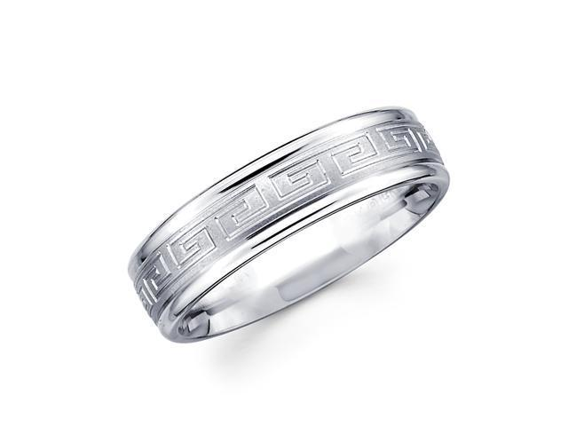 Solid 14k White Gold Ladies Mens Greek Design Wedding Ring Band 6MM Size 7.5