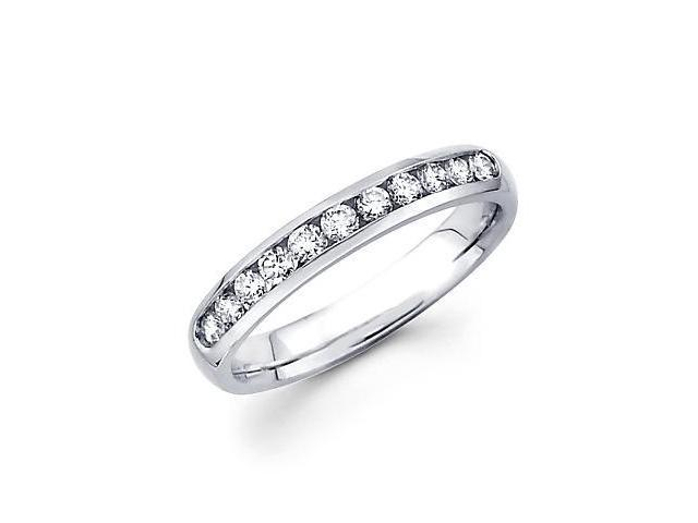14k White Gold Channel Set 9 Round Diamond Womens Wedding Ring Band 1/3ct (G-H Color, SI2 Clarity)