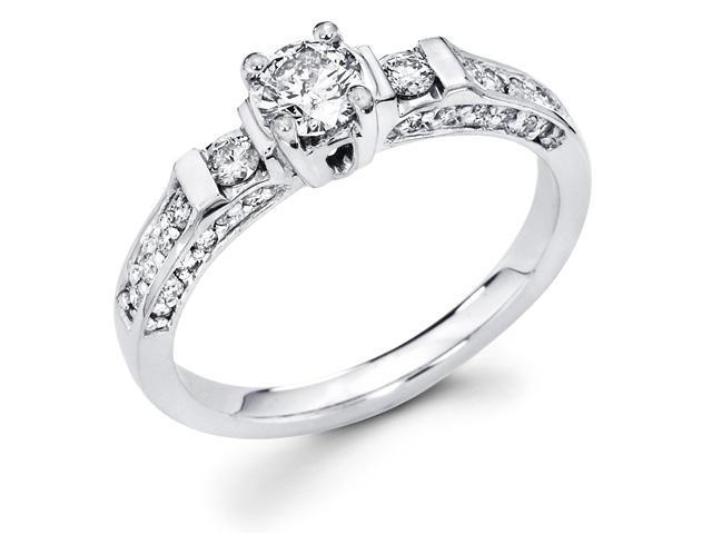 14k White Gold Solitaire Diamond Engagement Ring w/ Round Diamond Side Stones (2/3 cttw, 2/5 ct Center, G-H Color, SI1 Clarity)