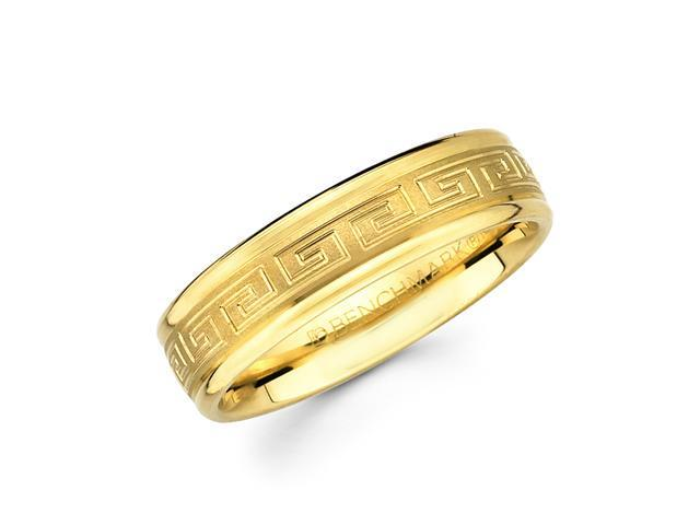 Solid 14k Yellow Gold Womens Mens Greek Design Satin Wedding Ring Band 6MM Size 9