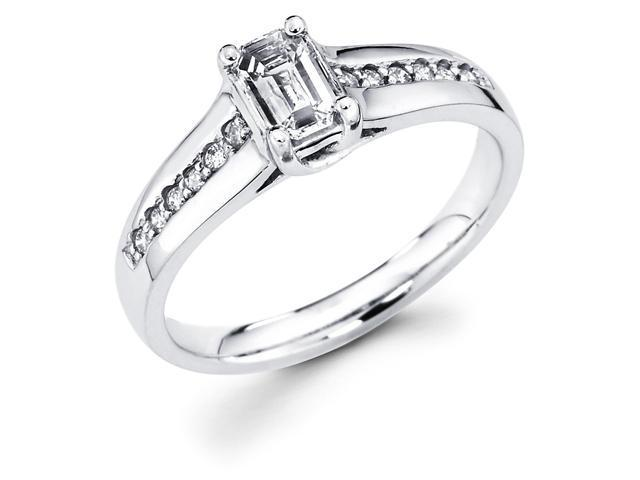 14k White Gold Emerald Cut Solitaire Diamond Engagement Ring w/ Round Channel Set Diamond Side Stones (1/2 cttw, 2/5 ct Center, G-H Color, SI1 Clarity)