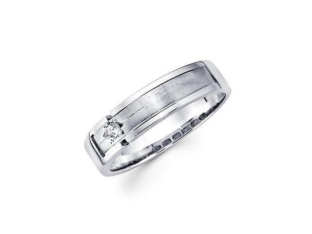 New 14k White Gold Mens Diamond Wedding Ring Band .05ct (G-H Color, SI2 Clarity)