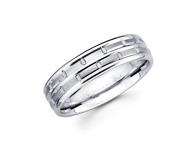 Solid 14k White Gold Ladies Mens Hammered Satin Wedding Ring Band 6MM Size 9.5