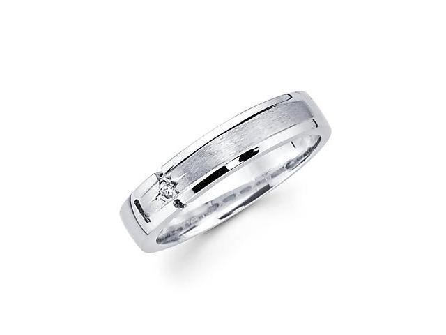 14k White Gold Ladies Womens Diamond Wedding Ring Band .02 ct (G-H Color, SI2 Clarity)