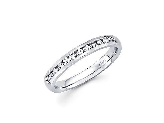 14k White Gold Channel Set 9 Round Diamond Womens Wedding Ring .19ct (G-H Color, SI2 Clarity)