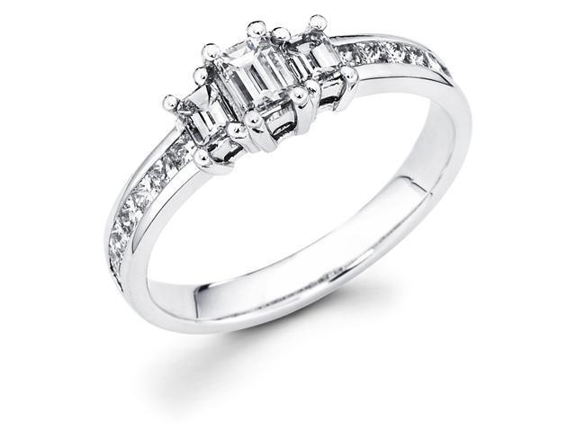 14k White Gold Three 3 Stone Emerald Cut Diamond Engagement Anniversary Ring w/ Channel Set Princess Cut Diamond Side Stones (.95 cttw, 1/4 ct Center, G-H Color, SI1 Clarity)