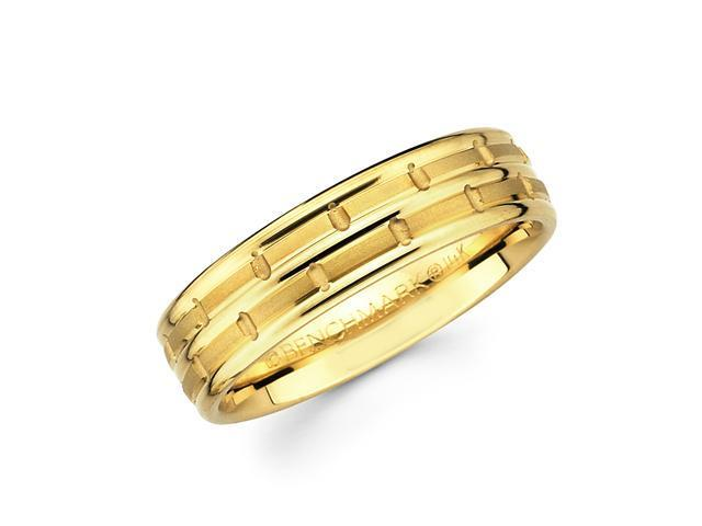 Solid 14k Yellow Gold Ladies Mens Hammered Satin Wedding Ring Band 6MM Size 7.5