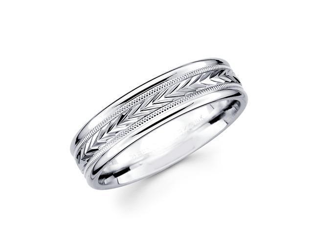 Solid 14k White Gold Womens Mens Milgrain Arrow Design Wedding Ring Band 6MM Size 10
