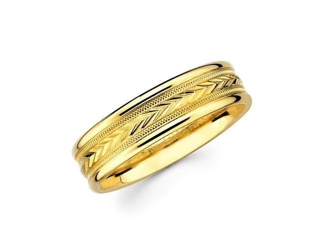 Solid 14k Yellow Gold Ladies Mens Milgrain Arrow Design Wedding Ring Band 6MM Size 5.5