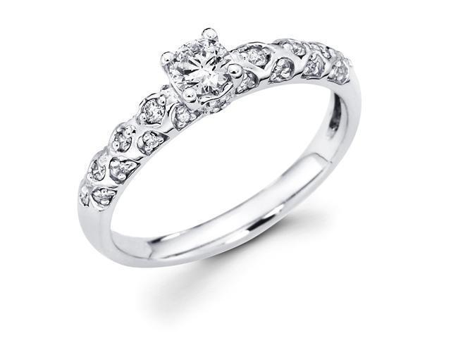 14k White Gold Solitaire Round Diamond Engagement Ring w/ Bezel Set Diamond Side Stones (2/5 cttw, 1/4 ct Center, G-H Color, SI1 Clarity)