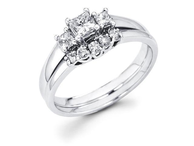 14k White Gold Three 3 Stone Princess Cut Diamond Engagement Anniversary 2 Ring Set w/ Matching 5 Round Diamond Wedding Band (1/2 cttw, G-H Color, SI1 Clarity)