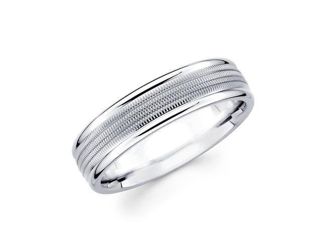 Solid 14k White Gold Ladies Mens Milgrain Middle High Polish Ends Wedding Ring Band 6MM Size 5.5