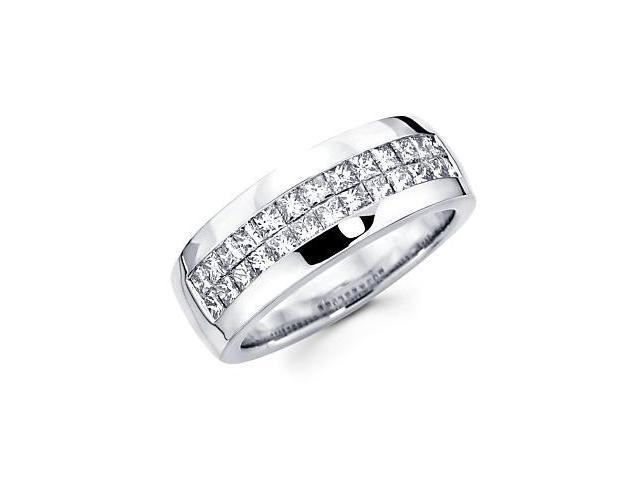 Princess Cut Channel Set 14k White Gold Mens Diamond Wedding Ring Band 2.15 ct (G-H, SI1)