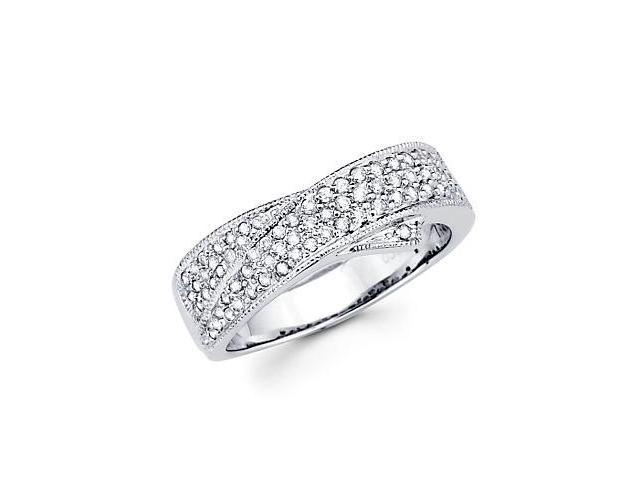 14k White Gold Cross Over New Diamond Ring Band .41 ct (G-H Color, SI2 Clarity)