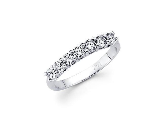 14k White Gold 7 Seven Stone Diamond Womens Ladies Wedding Ring Band .45 Ct (G-H Color, SI2 Clarity)