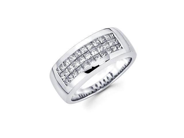 Princess Cut Channel Set 14k White Gold Mens Diamond Wedding Ring Band 1.38 ct (G-H, SI1)